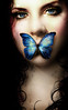 Persephone (Persephonae) Tags: blue portrait beautiful butterfly dark spring gothic romantic persephone