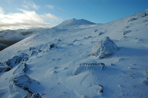 Snowy summit of Meall a' Ghiubhais