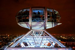 Into the night (~~[(QTR)]~Mubarak~) Tags: city light sky urban london eye thames night clouds river purple 101 fiveflickrfavs