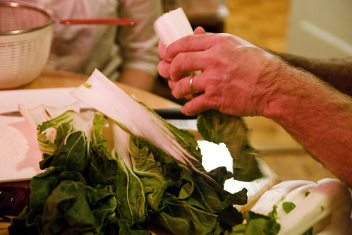 prepping the bok choy