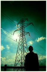 Pylons_057 (Hazeline Photography) Tags: county ireland sky music dublin irish male slr art film vertical clouds four photography photo mask vibrant band dry scanned pylons promotional linear canoneos300v elecronic hazeline hazelinephotography