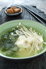 miso (mwhammer) Tags: wood winter brown white color green texture dark ceramic asian japanese soup miso healthy display tofu clear earthy chopsticks soy simple bowls broth soothing natrual enoki umeboshi wakame foodstyling melinahammer