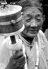 Pilgrim  (Ha-r-bin) Tags: china bw woman buddhist religion tibet explore minority lhasa pilgrim 2007  barkhor 0709