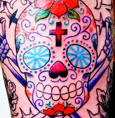 salt + (Strange Stain) Tags: tattoo dayofthedead skull sugarskull truerebeltattooaltonahamburg