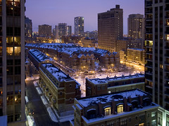 winter neighborhood (gsgeorge) Tags: city longexposure blue urban chicago skyline loft night buildings illinois view apartment streetlights townhouse neighborhood southloop townhome development urbanrenewal bluelight townhouses museumpark townhomes newdevelopment condoboom indianaave newtopography newtopographics newneighborhood skyscraperboom newtopographic