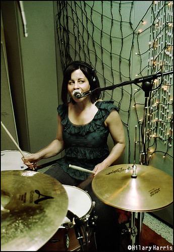 Janet Weiss doing double-duty with drums and vocals