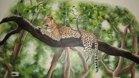 the leopard mural by Sunni Dhairyam bandipur 260408