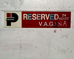 Reserved Parking Spot (jelee_unleashed) Tags: sign parking vagina reserved 24hours vancouverartgallery parkingsign impark