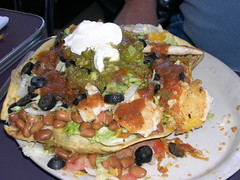 taco salad with green chiles, owl cafe (Photos by Mavis) Tags: chile food newmexico santafe southwest albuquerque spicy southwestern tacosalad owlcafe greenchile