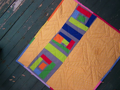 Quilt back, wonky log cabins