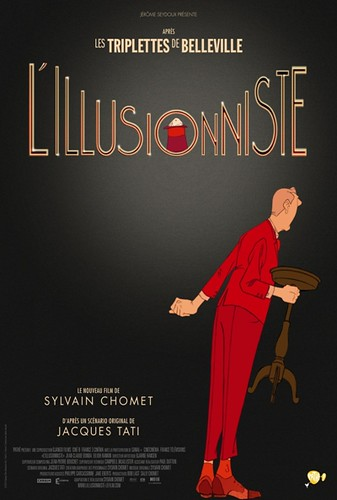 """L'illusionniste"" French poster, via elseptimoarte.net: identical to the USA poster except that the background is black and the capital-lettered title is tan."