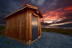 Cabin ... (asmundur) Tags: door blue light sunset colors photoshop sunrise iceland lab archive cellular midnight cs3 kpavogur 2xp june2006 nohdr capin 1142pm