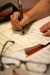 The composer (ido1) Tags: winter music pen paper flow glasses israel cafe notes song intimate composer herzelia nurithirsh lirics ido1