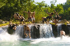 Triple Jump! (Timhaiti) Tags: boy male men fall boys water canon eos waterfall haiti jump flip backflip frontflip xti