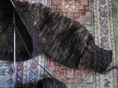 Two Tone Shrug - sleeve WIP