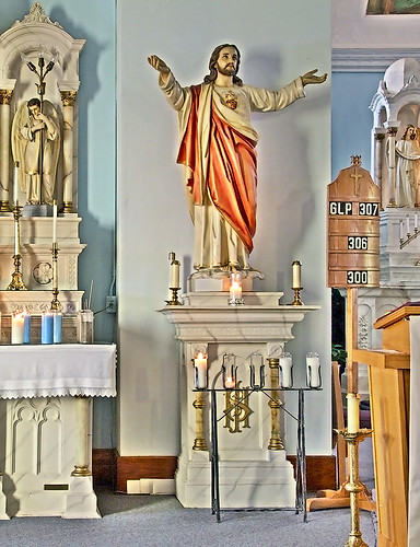 Saint Joseph Roman Catholic Church, in Bonne Terre, Missouri, USA - statue of the Sacred Heart of Jesus