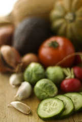 Vegetables5 (fhansenphoto) Tags: 2 food vegetables set avocado radishes garlic tomatos shallots brussel sprouts cucumbers