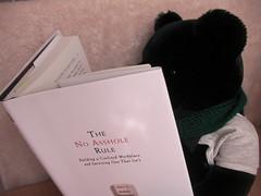 """Black bear reading """"The No Asshole Rule"""""""