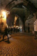 Prague at night (Gilderic Photography) Tags: christmas street old city trip travel bridge winter light vacation urban church architecture night dark lumix lights europe cityscape arch prague lumire hiver decoration charles praha panasonic past ville 2007 gilderic castleprague
