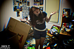 day cxlv- my thoughts on moving (365daysofsarav) Tags: selfportrait college girl moving mess chaos room dorm disaster messy boxes 365 vignette 365days