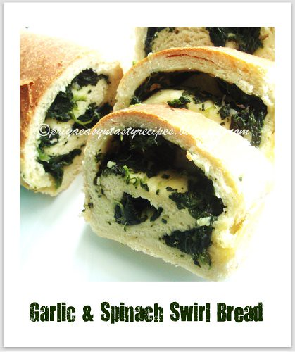Garlic & spinach swirl bread