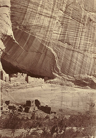 """""""Timothy H. O'Sullivan"""" """"Ancient Ruins in the Canyon de Chelle"""" """"New Mexico. 1873. Albumen silver print. 27.5 x 19.2 cm. Yale Collection of Western Americana"""" """"Beinecke Rare Book and Manuscript Librar"""