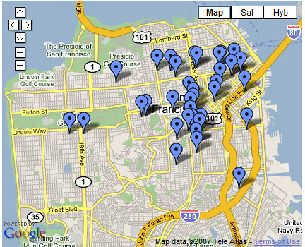 Google Map: SF is crafty!