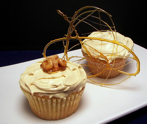 Maple-Walnut Cupcakes with Candied Walnuts