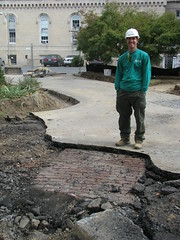 The foreman for the landscape crew discovered this brick path during asphalt removal.