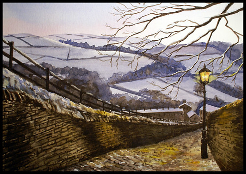 Snowy evening in Luddenden. Watercolour.