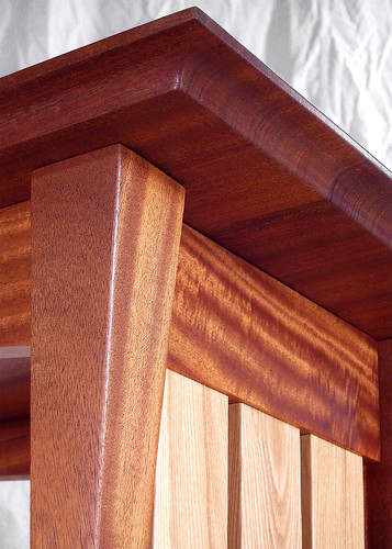 Mahogany table corner close up.