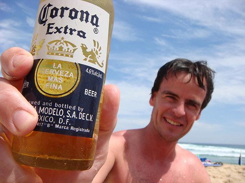 A lovely way to spend New Year's Eve...Rhod and his Corona on Portsea's Ocean Beach. ..