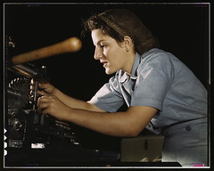 Mary Louise Stepan, 21, used to be a waitress. She has a brother in the air corps. She is working on transport parts in the hand mill, Consolidated Aircraft Corp., Fort Worth, Texas  (LOC)