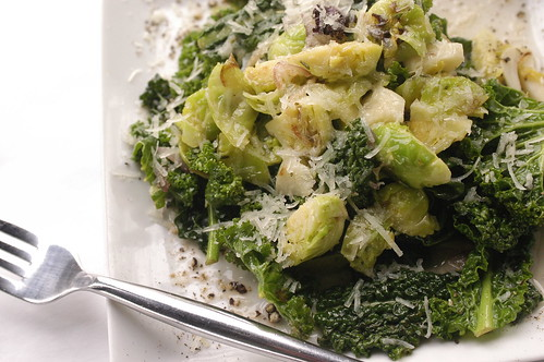 brussels sprouts, kale, and bacon