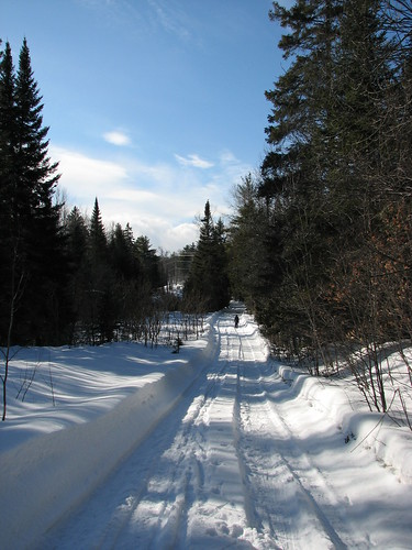 Hiking the snowmobile trail