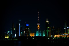 City Lights (Fahad Al Nusf) Tags: city light black tower me digital dark lights nikon asia gulf towers middleeast ku arab kuwait fahad kuwaitcity kw arabiangulf shuwaikh q8 kwt  18200mm  nikon18200mm d80  nikond80 fenyn fahadalnusf alnusf