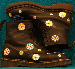 Doc Martens with Murakami stickers