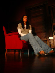 Sitting, Waiting, (theonashow3) Tags: life light red reflection colors girl gabi portland friend perspective piano jeans contemplative contemplating redchair balletslippers woodendoor balletflats sunsethighschool polishhall lifethroughmyviewfinder choiceportrait kasior