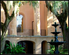 A Closer Look (Dolcemente111) Tags: old pink trees light building green college sc water fountain architecture campus nhl nikon southcarolina historic charleston southern coastal spanishmoss pillars collegecampus lowcountry collegeofcharleston 29401 viewonblack nikond40x d40x dolcemente111