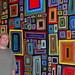 Windows series wall 6'x12' Acrylic, Watercolor Crayon & Watercolor Pencil on Canvas.