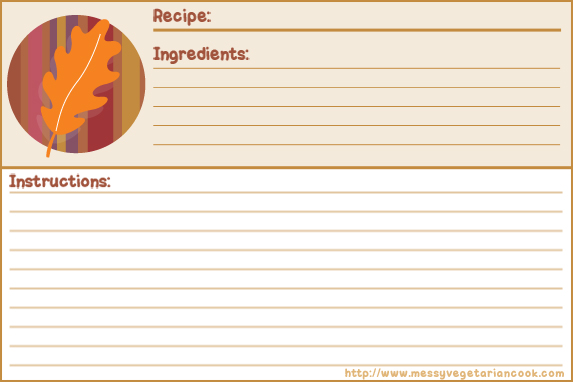 Autumn Breeze Free Recipe Card Templates Lined Messy – Templates for Recipe Cards