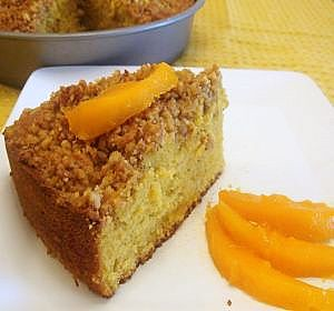 mango cake with streusel topping