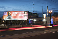 Tony Robbins Live! (Curtis Gregory Perry) Tags: portland oregon billboard tony robbins live grand avenue street road night longexposure car traffic light streak blur trails march 2 gary vaynerchuk robert herjavec buy one get free national achievers 2017 congress tour nikon d180 sign convention center motivational speaker 50mm f12