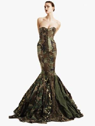 Gary Harvey custom camo evening dress