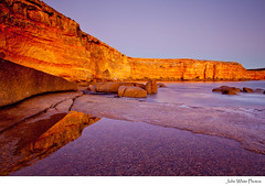 Australia (john white photos) Tags: sunset sea cliff reflection water australia southaustralia wanna eyrepeninsula