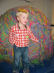 Garrett with the world's largest rubber band ball (2001)
