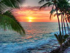 Big Island sunset (AL Gator) Tags: travel sunset water ilovenature hawaii colorful surf pacific bigisland blueribbonwinner tonemap kaluakona
