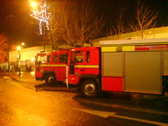Fire Engines Near The New Market (Mickaul) Tags: charity new uk england money green phoenix corner manchester fire for hall pub crossing market near no parking under lancashire engines bowling zebra service were around parked greater firemen ashton zone collecting lyne the in tenders becon belisha tameside mickaul