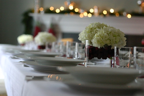 Seating for 20, three low centerpieces