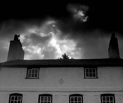 under a cloud (~ paddypix ~) Tags: blackandwhite photoshop village angles doorsandwindows contrasty moodyblues bwdreams ukandireland scenicsnotjustlandscapes